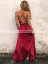 A-line Cowl Neck Ankle-length Silk-like Satin Prom Dresses with Split Front #Favs020105283