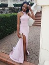 Trumpet/Mermaid High Neck Jersey Sweep Train Split Front Prom Dresses #Favs020105290
