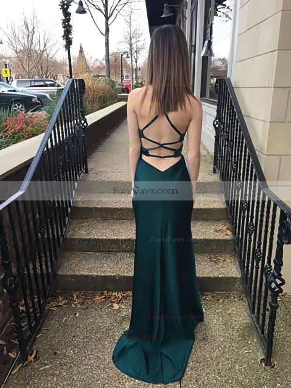 Sheath/Column Scoop Neck Sweep Train Silk-like Satin Prom Dresses #Favs020105294