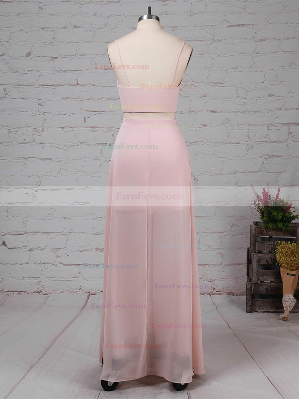 Sheath/Column V-neck Chiffon Floor-length Split Front Prom Dresses #Favs020105326