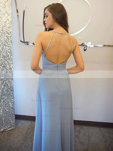 A-line V-neck Floor-length Chiffon Prom Dresses with Beading #Favs020105331
