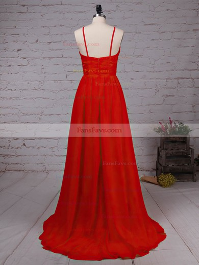 A-line Scoop Neck Lace Chiffon Sweep Train Split Front Prom Dresses #Favs020105340