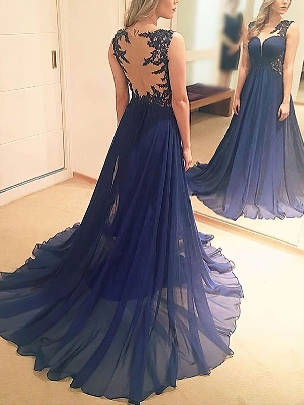 A-line Scoop Neck Chiffon Sweep Train Appliques Lace Prom Dresses #Favs020105345