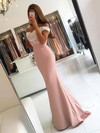 Trumpet/Mermaid Off-the-shoulder Silk-like Satin Sweep Train Appliques Lace Prom Dresses #Favs020103721