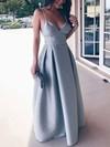 A-line V-neck Satin Floor-length Prom Dresses #Favs020105365