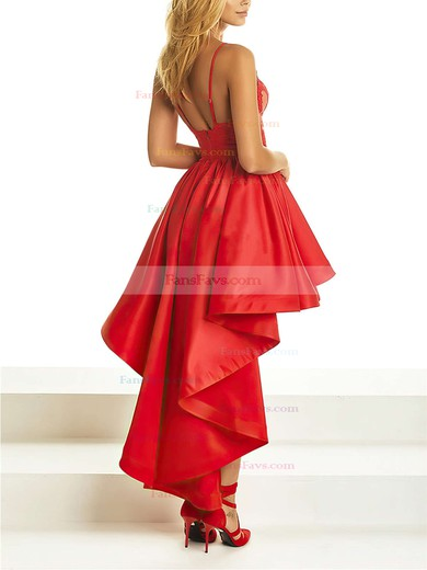 A-line V-neck Asymmetrical Satin Prom Dresses with Appliques Lace #Favs020105369