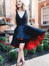 A-line V-neck Satin Asymmetrical Pockets Prom Dresses #Favs020105403