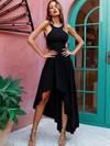 A-line Scoop Neck Asymmetrical Silk-like Satin Prom Dresses #Favs020105406