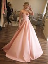 Ball Gown V-neck Satin Floor-length Prom Dresses #Favs020105412