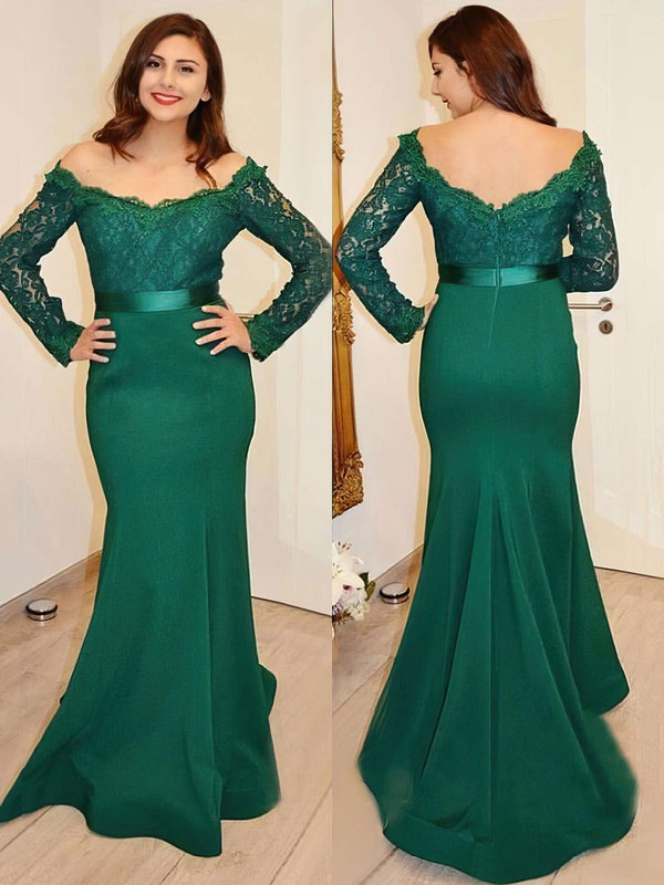 Trumpet/Mermaid Off-the-shoulder Lace Silk-like Satin Sweep Train Sashes / Ribbons Prom Dresses #Favs020103731