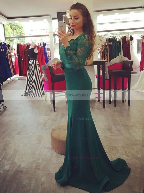 Trumpet/Mermaid Off-the-shoulder Sweep Train Silk-like Satin Prom Dresses with Appliques Lace Sashes #Favs020103731