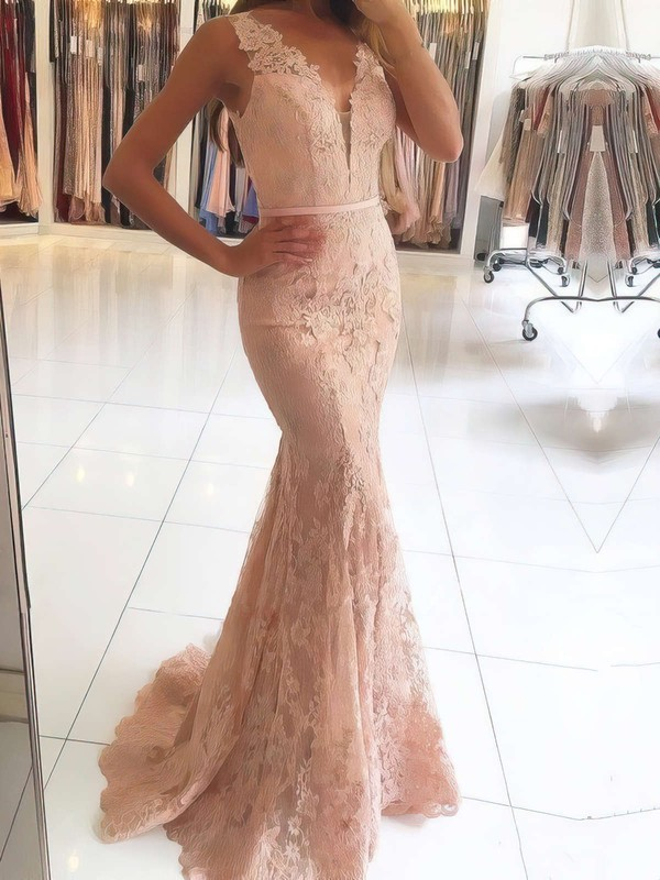 Trumpet/Mermaid V-neck Sweep Train Lace Prom Dresses with Appliques Lace Beading #Favs020105460