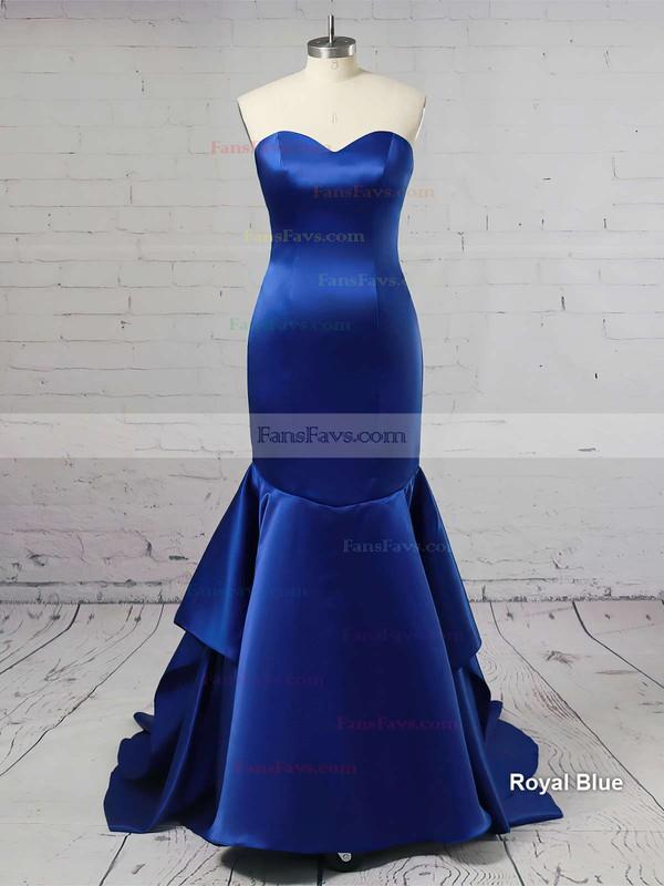Trumpet/Mermaid Sweetheart Satin Sweep Train Cascading Ruffles Prom Dresses #Favs020105471