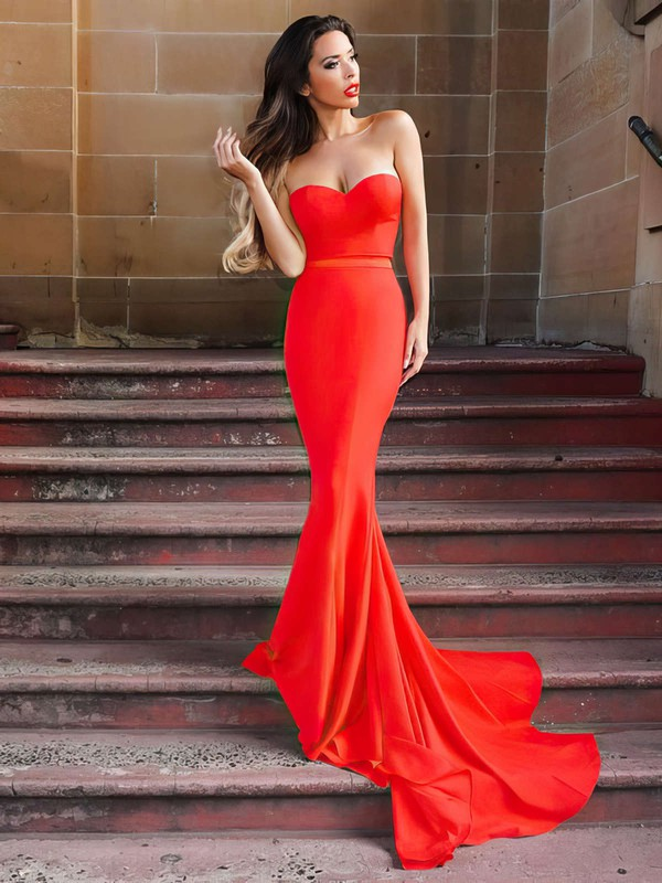 Trumpet/Mermaid Sweetheart Sweep Train Jersey Prom Dresses with Sashes #Favs020105479