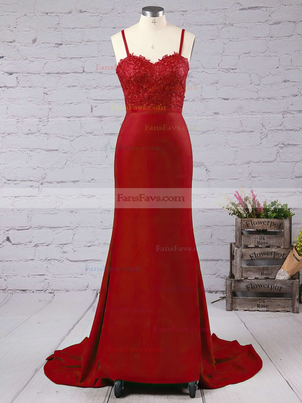 Trumpet/Mermaid Sweetheart Jersey Court Train Appliques Lace Prom Dresses #Favs020103733