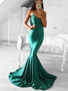 Trumpet/Mermaid V-neck Silk-like Satin Sweep Train Prom Dresses #Favs020105487