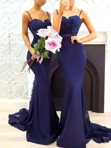 Trumpet/Mermaid Sweetheart Silk-like Satin Sweep Train Appliques Lace Prom Dresses #Favs020105493