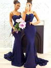 Trumpet/Mermaid Sweetheart Silk-like Satin Sweep Train Appliques Lace Prom Dresses #Favs020105493
