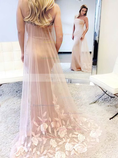 Trumpet/Mermaid Square Neckline Watteau Train Silk-like Satin Prom Dresses with Appliques Lace Beading #Favs020105500
