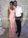 Sheath/Column V-neck Lace Sweep Train Beading Prom Dresses #Favs020105514