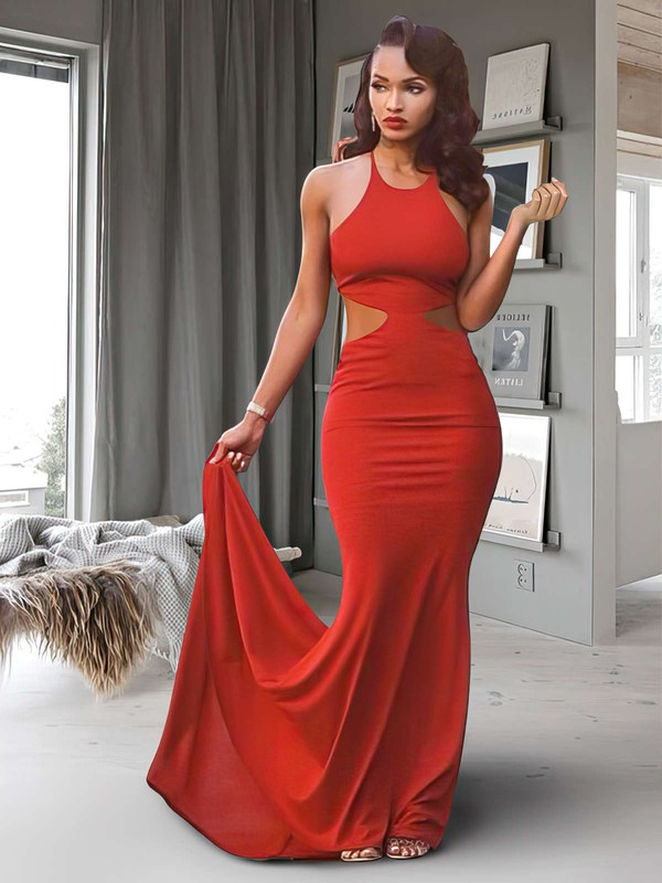 Trumpet/Mermaid Scoop Neck Jersey Sweep Train Prom Dresses #Favs020104329