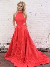 Princess High Neck Satin Sweep Train Appliques Lace Prom Dresses #Favs020105570