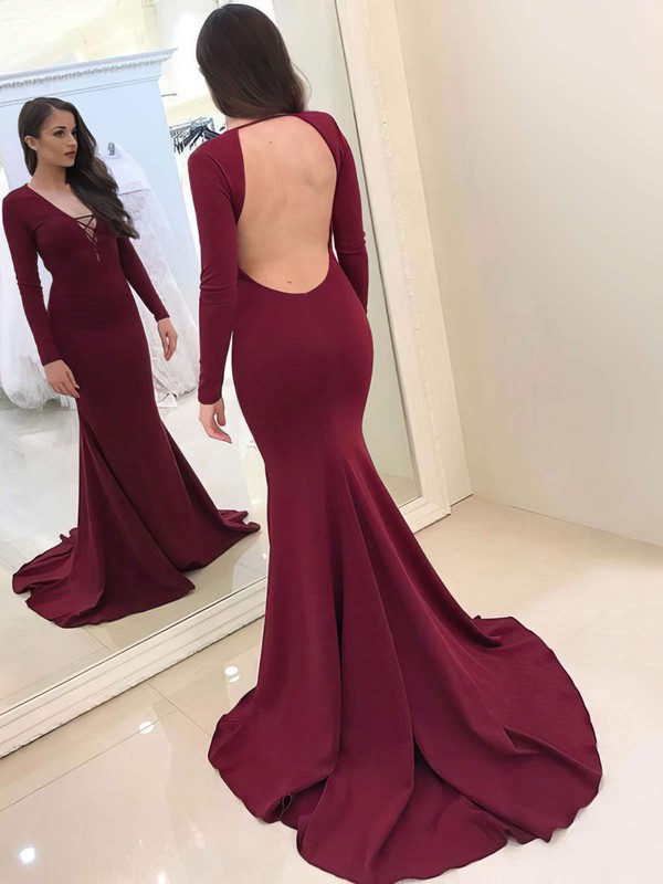 Trumpet/Mermaid V-neck Sweep Train Silk-like Satin Prom Dresses #Favs020105591