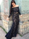 Trumpet/Mermaid Off-the-shoulder Lace Sweep Train Beading Prom Dresses #Favs020105604