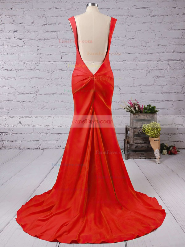 Trumpet/Mermaid V-neck Silk-like Satin Sweep Train Split Front Prom Dresses #Favs020104348