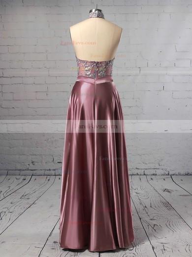 A-line High Neck Satin Floor-length Appliques Lace Prom Dresses #Favs020105685