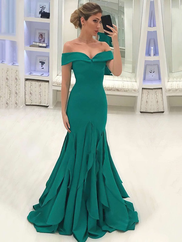 Trumpet/Mermaid Off-the-shoulder Sweep Train Silk-like Satin Prom Dresses with Ruffle #Favs020105700