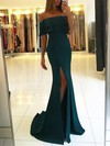 Trumpet/Mermaid Off-the-shoulder Sweep Train Silk-like Satin Prom Dresses with Split Front #Favs020105701