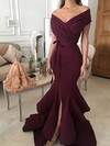 Trumpet/Mermaid Off-the-shoulder Silk-like Satin Sweep Train Sashes / Ribbons Prom Dresses #Favs020105702