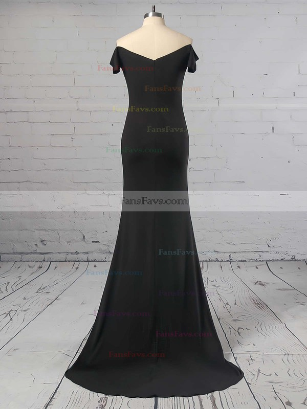 Sheath/Column Off-the-shoulder Jersey Sweep Train Split Front Prom Dresses #Favs020105720