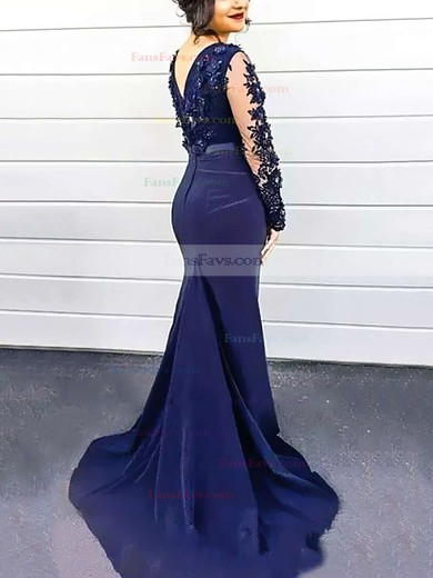 Trumpet/Mermaid Scoop Neck Silk-like Satin Sweep Train Beading Prom Dresses #Favs020104402