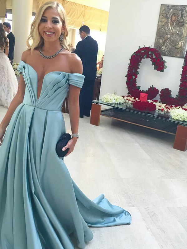 Princess Off-the-shoulder Sweep Train Satin Prom Dresses with Ruffle #Favs020105724