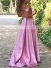 Princess Off-the-shoulder Satin Sweep Train Ruffles Prom Dresses #Favs020105724