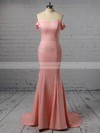Trumpet/Mermaid Off-the-shoulder Sweep Train Silk-like Satin Prom Dresses with Sashes #Favs020105727