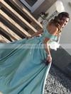 A-line Off-the-shoulder Satin Sweep Train Split Front Prom Dresses #Favs020105733