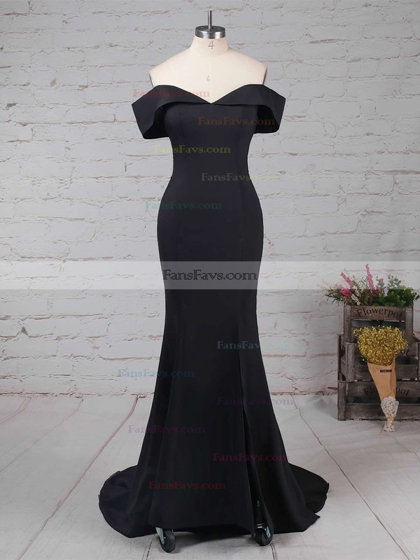 Trumpet/Mermaid Off-the-shoulder Silk-like Satin Sweep Train Split Front Prom Dresses #Favs020105741