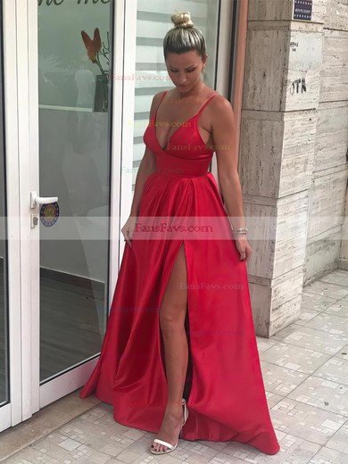 A-line V-neck Sweep Train Satin Prom Dresses with Split Front #Favs020105754