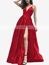 A-line V-neck Satin Sweep Train Split Front Prom Dresses #Favs020105754