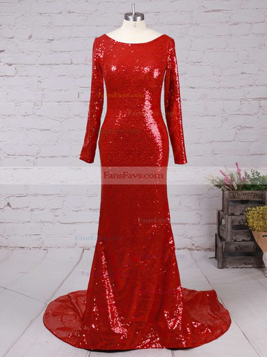 Trumpet/Mermaid Scoop Neck Sweep Train Sequined Prom Dresses with Ruffle #Favs02016266