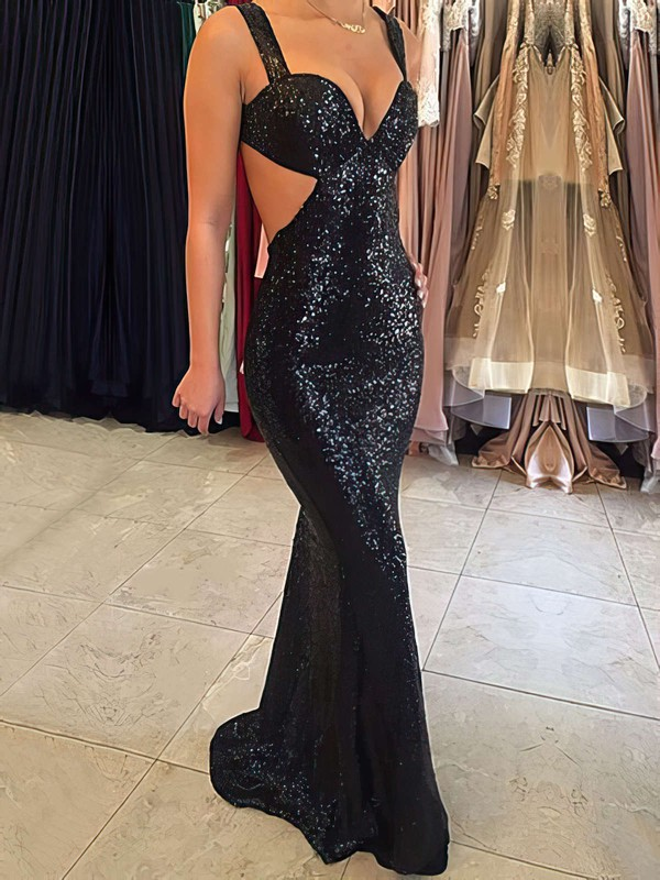Sheath/Column V-neck Sequined Sweep Train Prom Dresses #Favs020105813