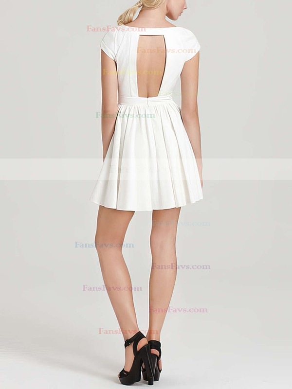 A-line Scoop Neck Short/Mini Chiffon Prom Dresses with Ruffle #Favs020101452