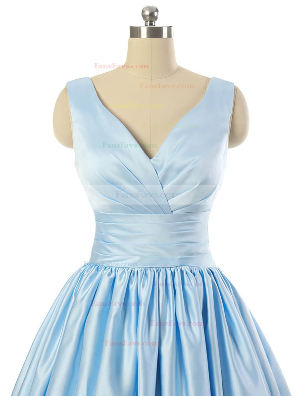 V-neck Light Sky Blue Satin Lace-up Pleats Short/Mini Prom Dresses #Favs020101795