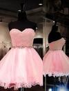 Ball Gown Sweetheart Tulle Short/Mini Beading Prom Dresses #Favs020101804