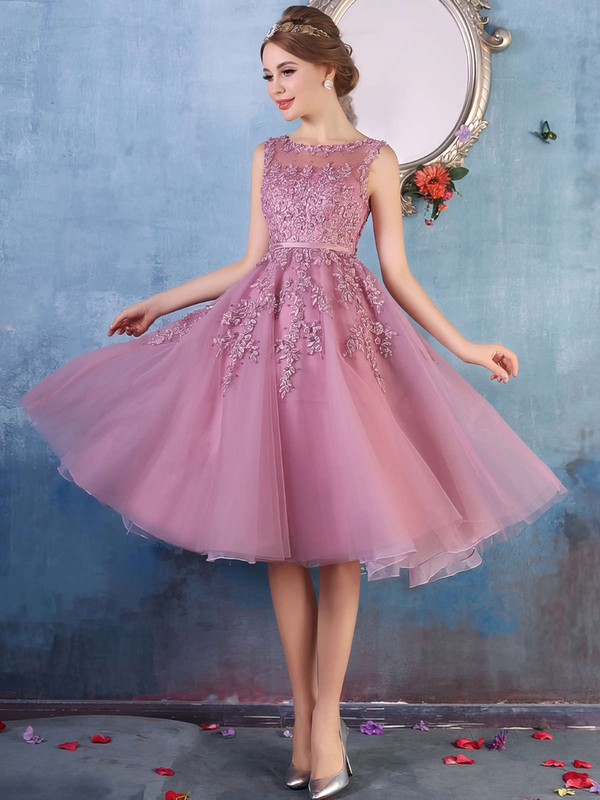 A-line Scoop Neck Knee-length Tulle Prom Dresses with Appliques Lace Beading #Favs020102050