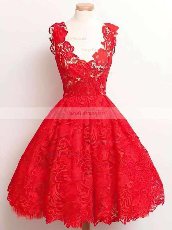 A-line V-neck Lace Knee-length Appliques Lace Prom Dresses #Favs020102389