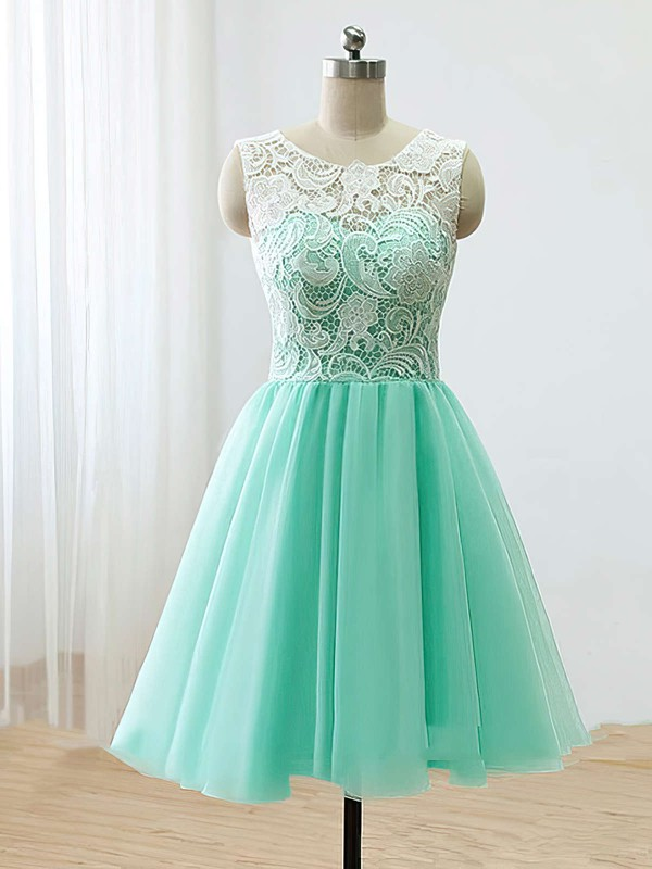 A-line Scoop Neck Short/Mini Tulle Prom Dresses with Lace #Favs020102213